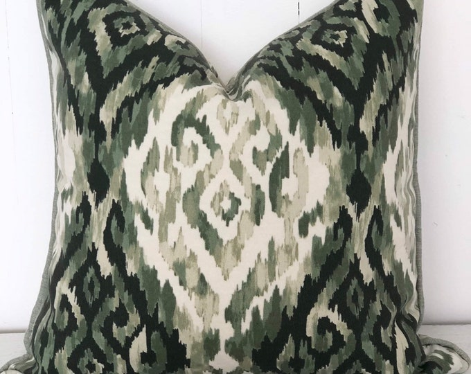 SALE - Ikat Mineral Green Tribal Print Indoor/Outdoor Cushion Cover with sage green piping