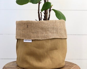 Pot Plant Cover - Mustard Linen and Hessian Reversible