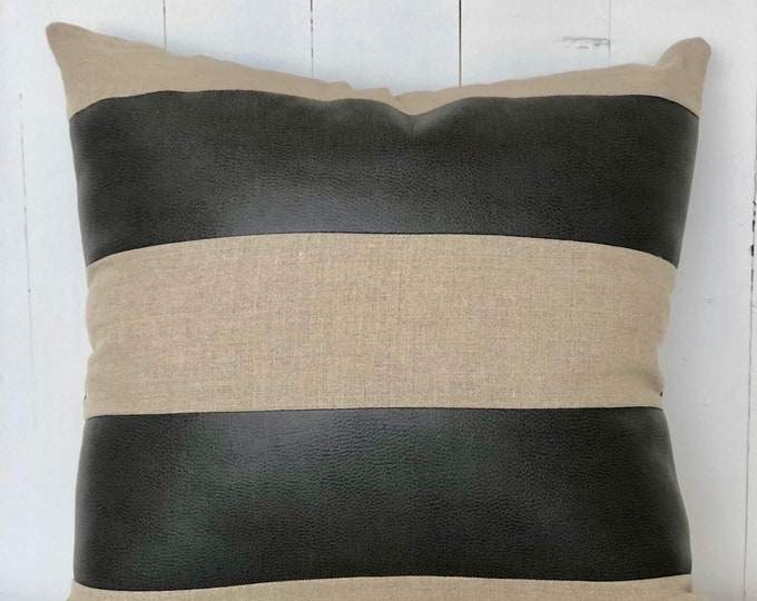 SALE - Classic Linen & Leather Stripe Paneled Cushion Cover