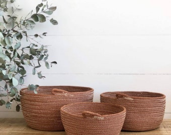 Tan hand dyed cotton Rope Bowls