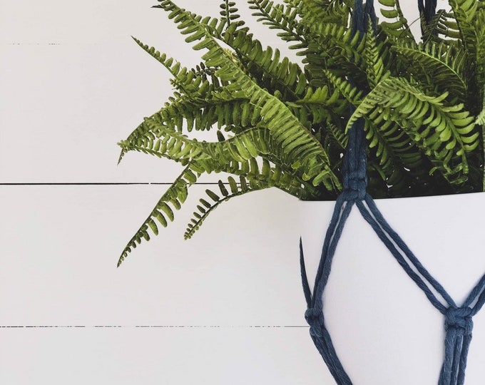 Denim Macrame Plant Hanger with 4mm Cotton Cord