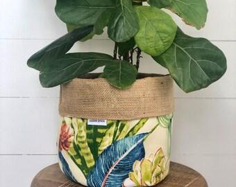 Pot Plant Cover - Desert Garden and Hessian Reversible