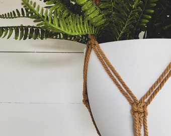 Camel Macrame Plant Hanger with 4mm Cotton Cord