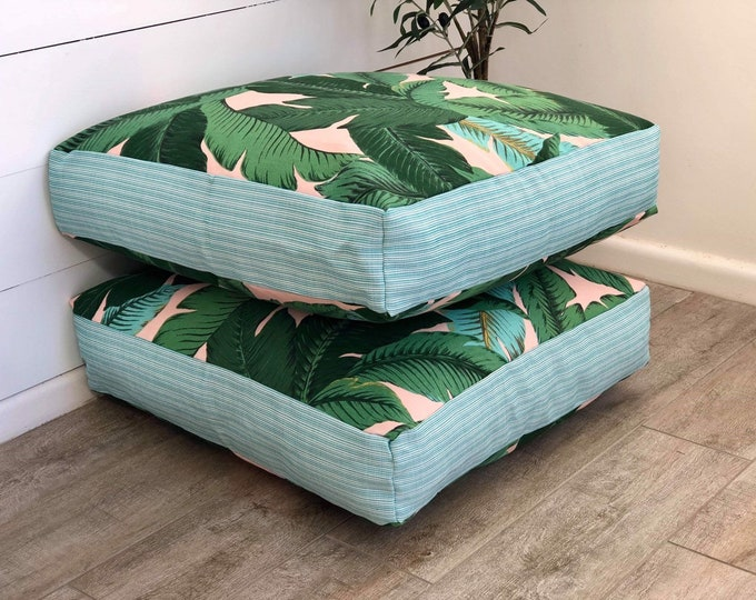 Pink Swaying Palms indoor/outdoor square floor cushion