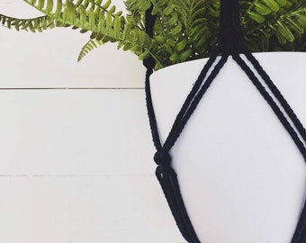 Navy Macrame Plant Hanger with 4mm Cotton Cord