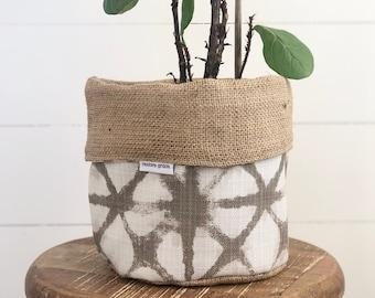 Pot Plant Cover - Neutral Shibori and Hessian Reversible