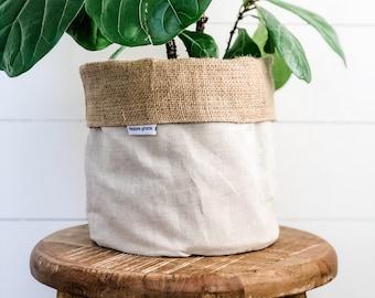 Pot Plant Cover - Oatmeal Linen Blend Reversible Hessian