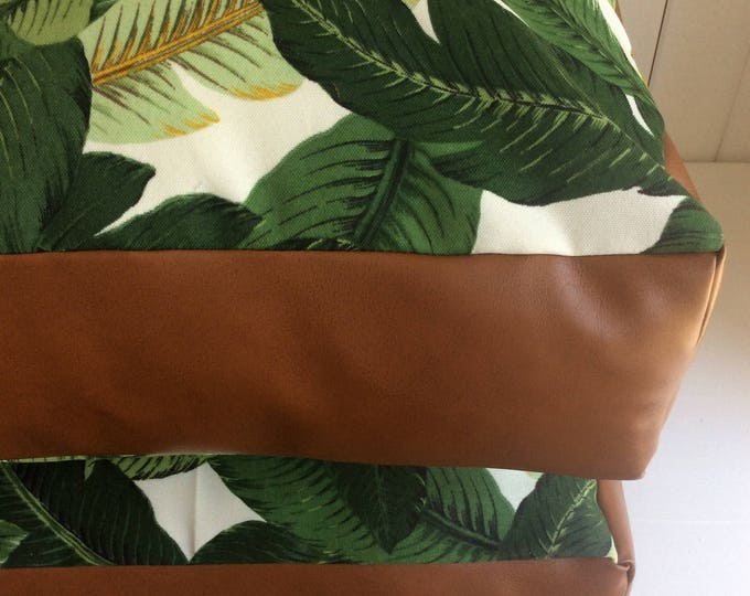 Tropical green palms with tan leather panelling square floor cushion