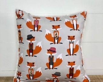 SALE - Clever Mr Fox Unisex Nursery Cushion Cover