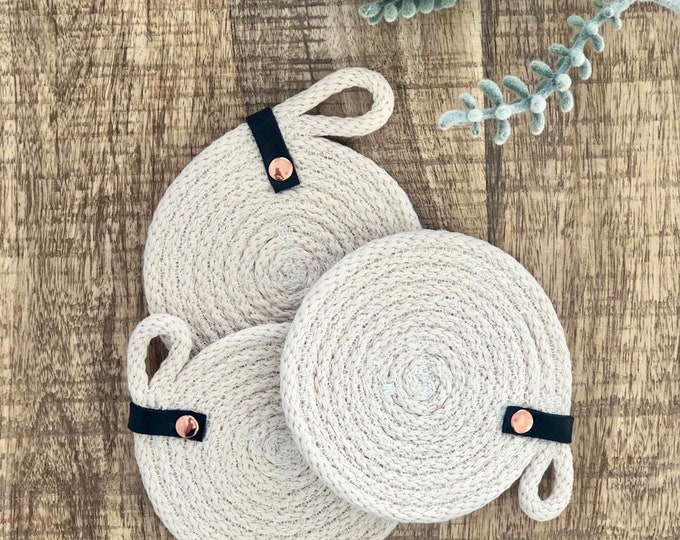 Cotton Rope Coaster with Black leather strap