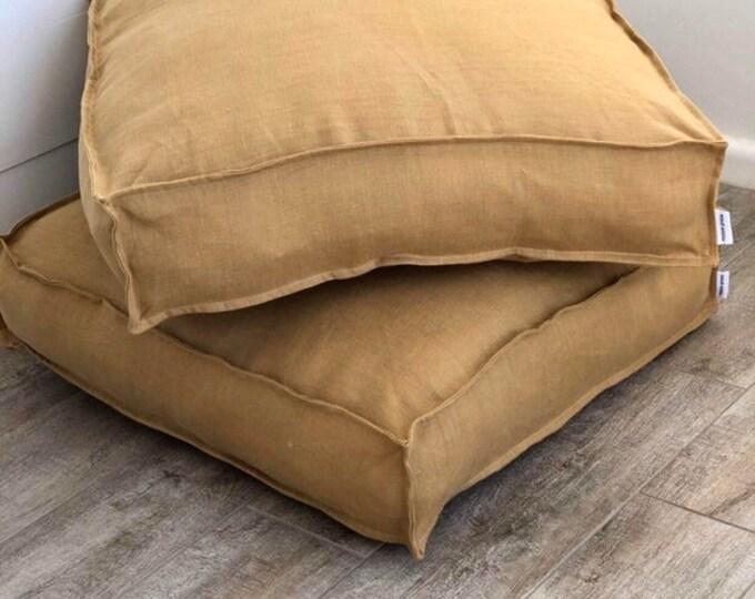 Linen Floor Cushion Cover - Mustard Seconds