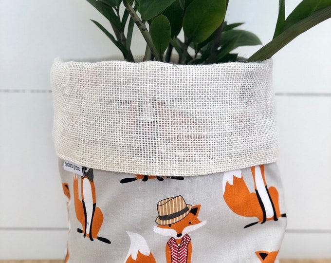 Mr Fox Reversible White Burlap Storage Basket