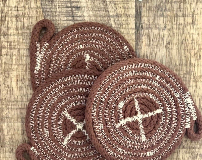 Tan hand dyed Cotton Rope Coaster