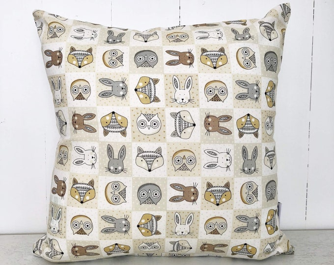 CLEARANCE** Woodlands animal friends gender neutral Nursery or bedroom cushion cover
