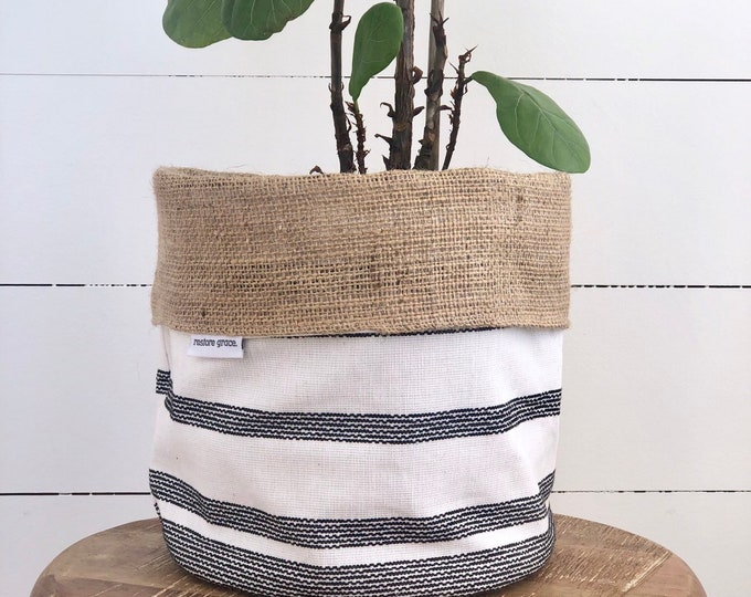Stitched Black Stripe Reversible Hessian Pot Plant Bag