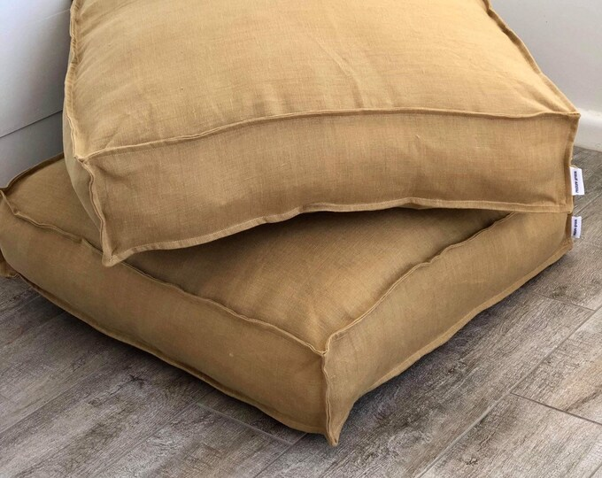 Mustard 100% Washed European Linen Floor Cushion Cover with Flange