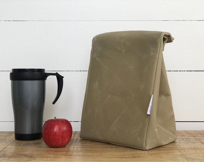 EXPRESS SHIPPING - Lunch Bag - Eco friendly Reusable Waxed Canvas Bone (All Domestic orders ship Express until 18/11/19)