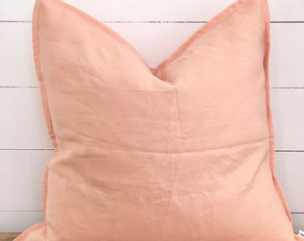 Cushion Cover - Peach 100% European Linen with Flange