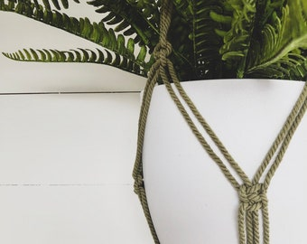 Khaki Macrame Plant Hanger with 4mm Cotton Cord
