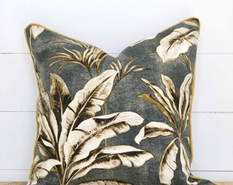 Outdoor Cushion Cover - Kalawee Gold and Charcoal Palms