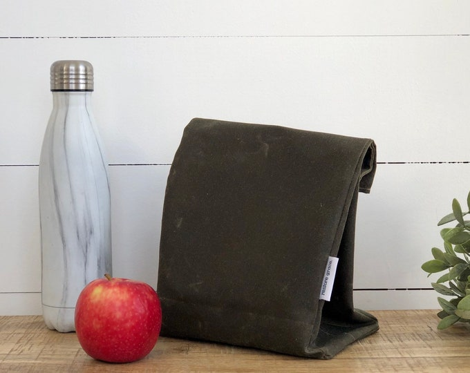 Army Green Reusable Waxed Canvas Lunch Bag