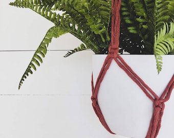 Cinnamon Macrame Plant Hanger with 4mm Cotton Cord