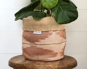 Rosewood Reversible Hessian Pot Plant Bag
