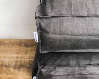 Floor Cushion Cover - Graphite Linen 100% Washed European Linen