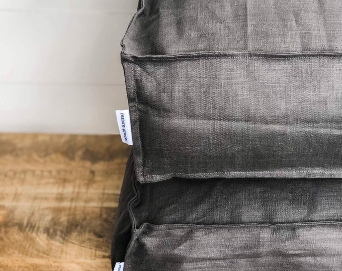Floor Cushion Cover - Charcoal Linen 100% Washed European Linen