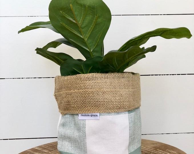 Pot Plant Cover - Country Check Aqua Reversible