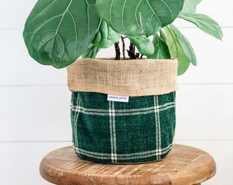 Pot Plant Cover - Spruce Plaid Reversible Hessian