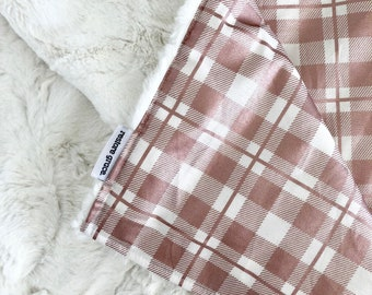 Blush Metallic Plaid Baby Girl Pram Blanket