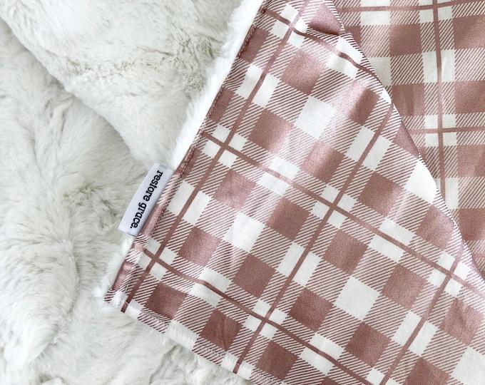 Baby Pram Blanket - Blush Metallic Plaid