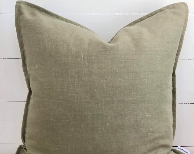 Olive 100% Washed European Linen Cushion Cover with Flange