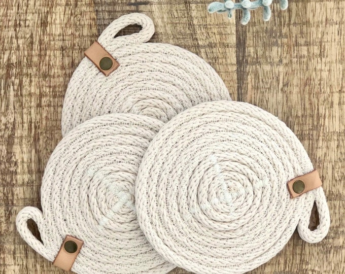 Cotton Rope Coaster with Tan leather strap