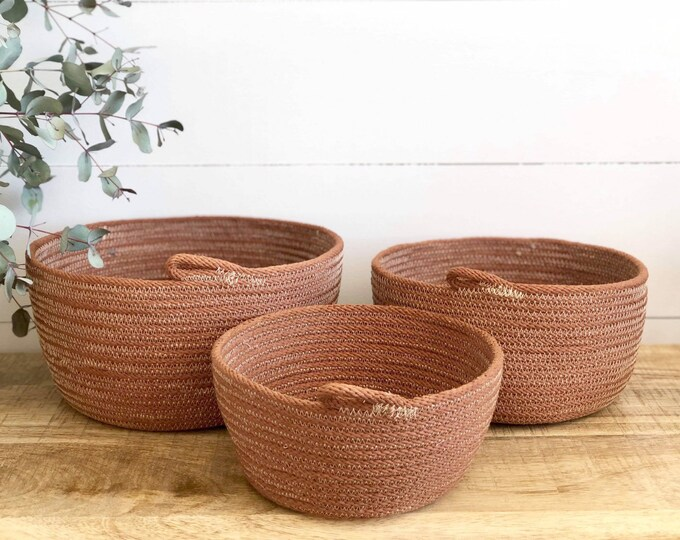Tan Rope Storage Bowls Hand dyed