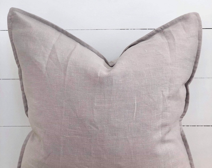 Stone 100% Washed European Linen Cushion Cover with Flange
