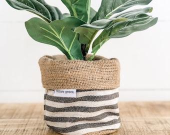 Mini Pot Plant Cover - Charcoal Stripe