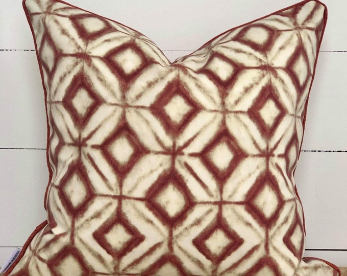 Outdoor Cushion Cover -Inkwell Aztec Diamonds with White Piping