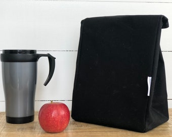 Lunch Bag - Eco friendly Reusable Waxed Canvas Black