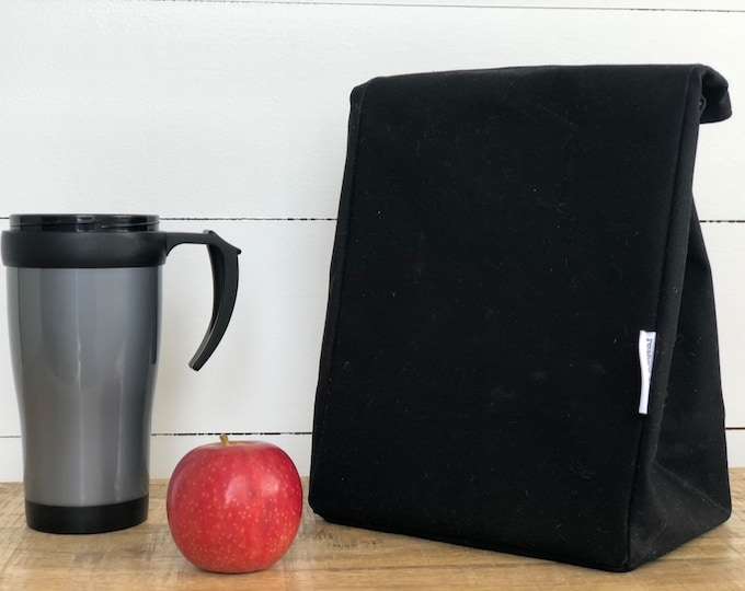 EXPRESS SHIPPING - Lunch Bag - Eco friendly Reusable Waxed Canvas Black (All Domestic orders ship Express until 18/11/19)