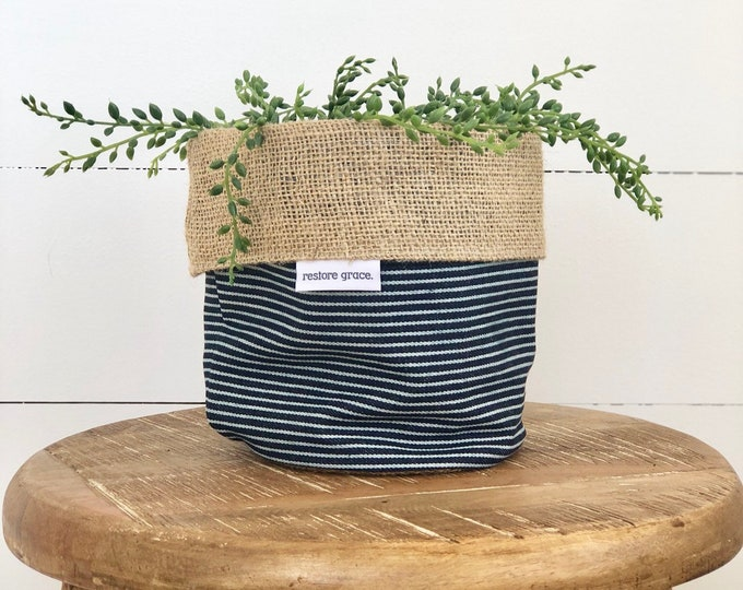 Denim Railway Stripe Reversible Hessian Pot Plant Cover