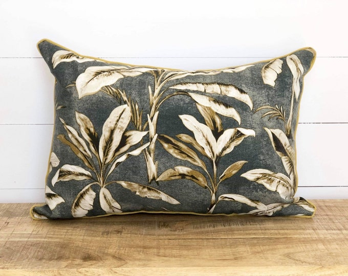 Outdoor Cushion Cover - Kalawee Gold and Charcoal Palms in rectangle