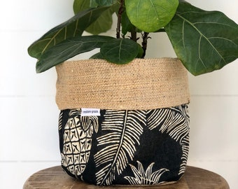 CLEARANCE Pineapple Crush Reversible Hessian Pot Plant Bag