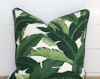 Swaying Palms Indoor/Outdoor Cushion Cover with Black Piping