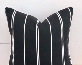Black and White Stripe Indoor/Outdoor Cushion Cover with White Piping