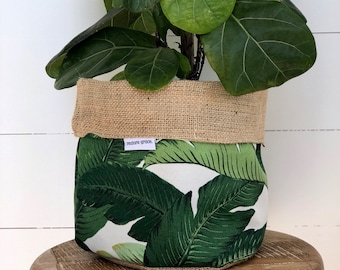 Pot Plant Cover - Green Swaying Palm and Hessian Reversible