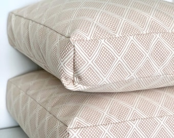 Blush Pink Modern Wanderer woven floor cushion cover