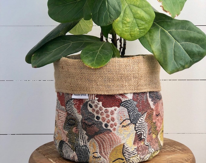 LIMITED EDITION Folksy Faces Reversible Hessian Pot Planter Bag