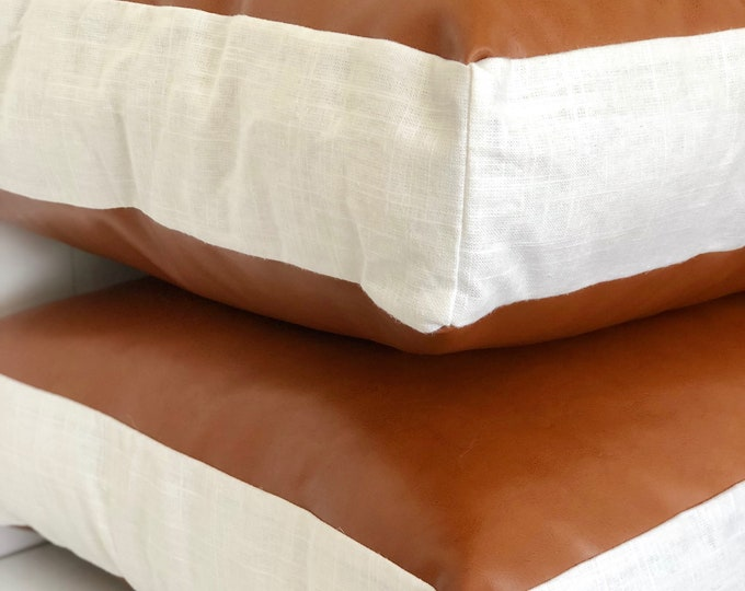 CLEARANCE** Copper tan faux leather square floor cushion cover with White Linen paneling